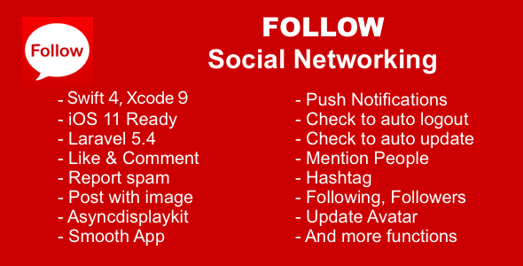 Follow Social Networking Swift 4 Xcode 9 and Laravel 5.4 - CodeCanyon Item for Sale