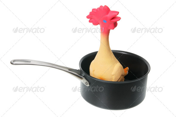 Rubber Chicken in Saucepan - Stock Photo - Images