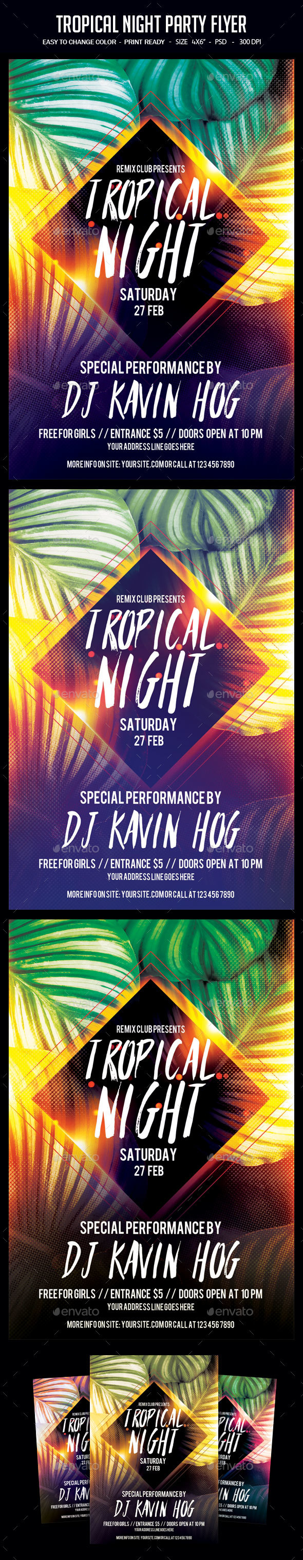 Tropical Night Party Flyer - Clubs & Parties Events