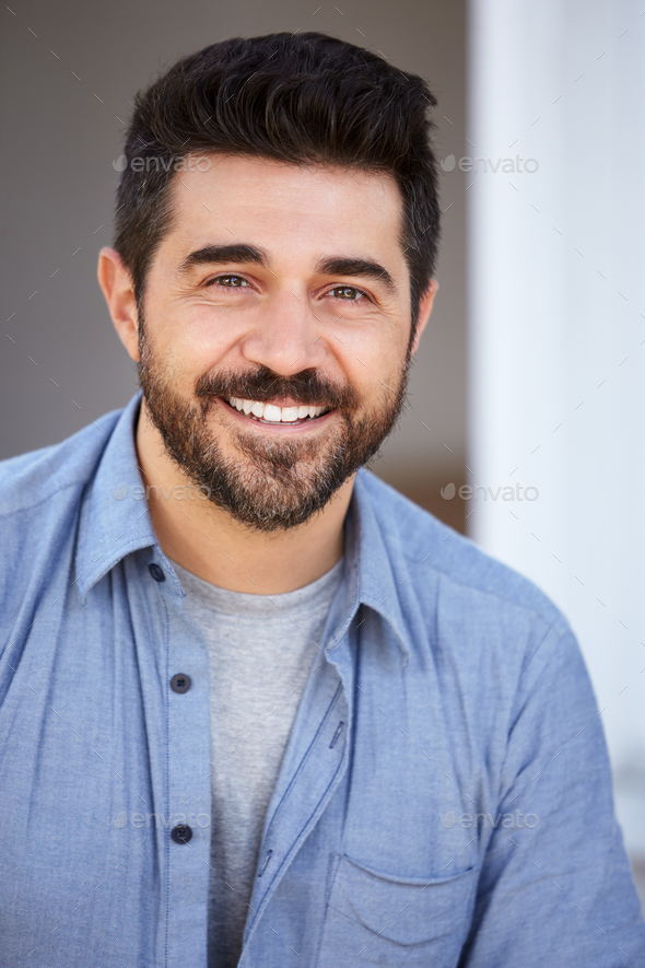 Outdoor Head And Shoulders Portrait Of Smiling Mature Man - Stock Photo - Images