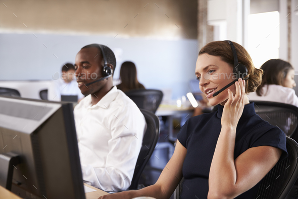 View Of Staff In Busy Customer Service Department - Stock Photo - Images