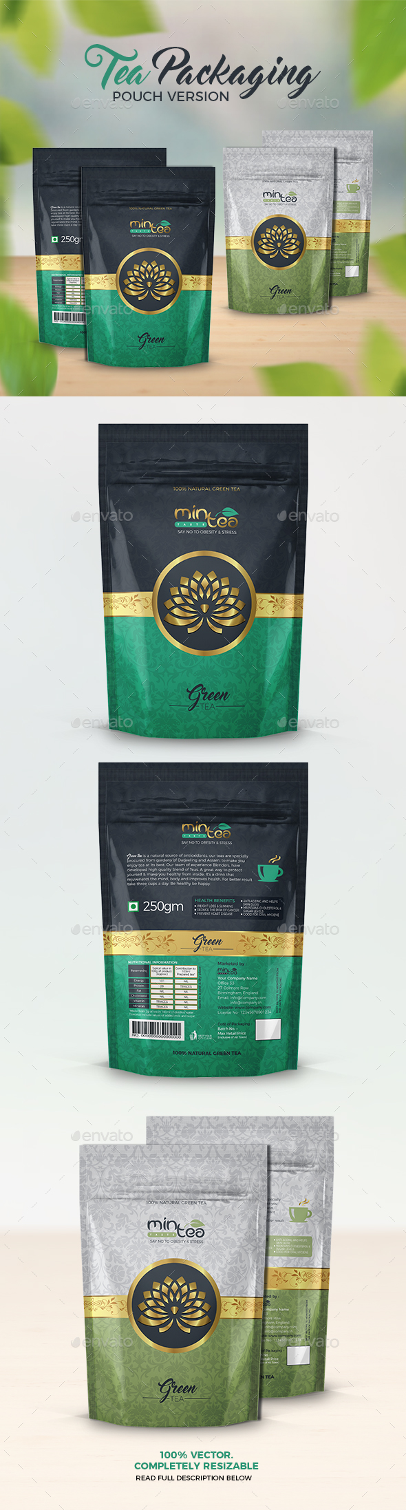 Tea Packaging (Pouch Version) - Packaging Print Templates