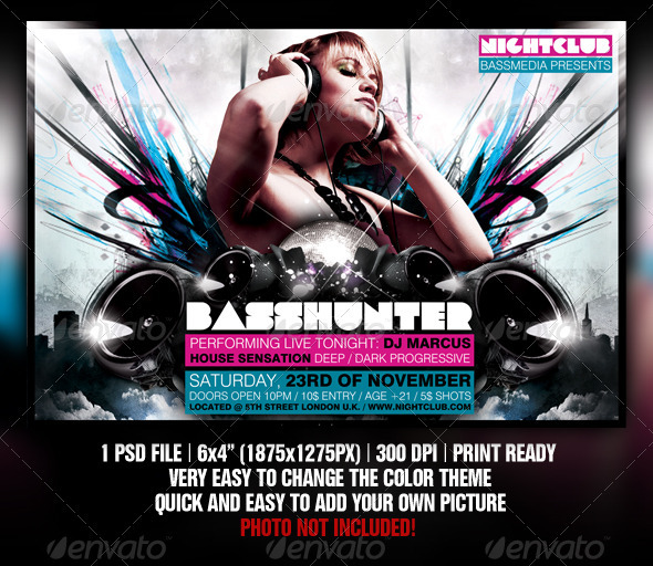 Basshunter Party Flyer Template - Clubs & Parties Events