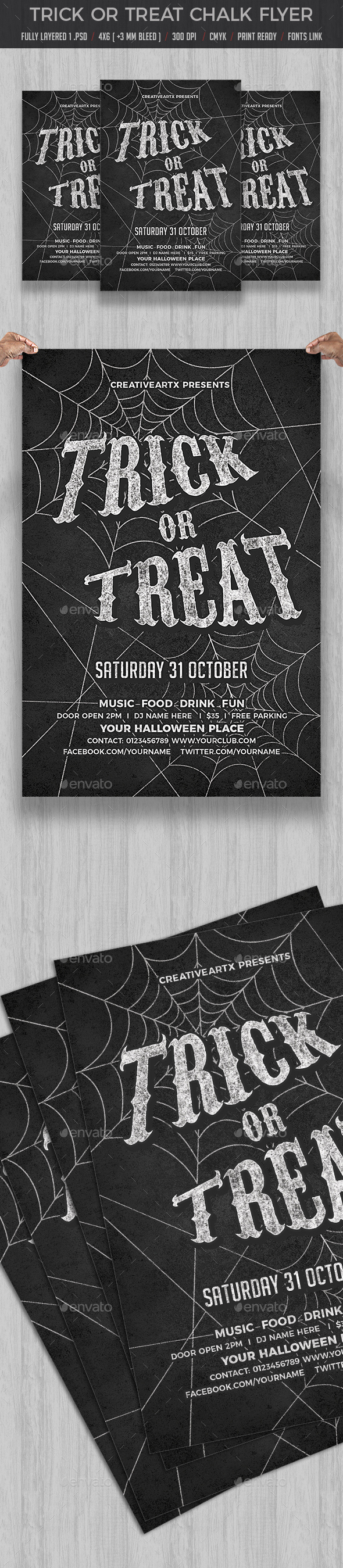 GraphicRiver Trick or Treat Chalk Flyer 20605075