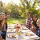 Two families having a picnic at a table look to camera - PhotoDune Item for Sale