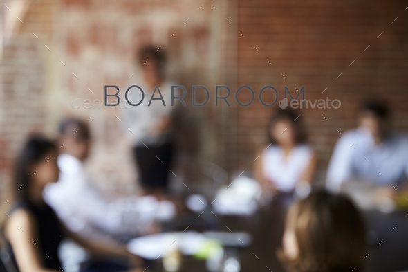 View Of Meeting Through Glass Door Labelled Boardroom - Stock Photo - Images