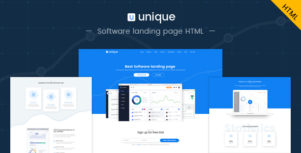 Unique: Software landing page HTML template
