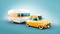 Retro car with white trailer. - PhotoDune Item for Sale
