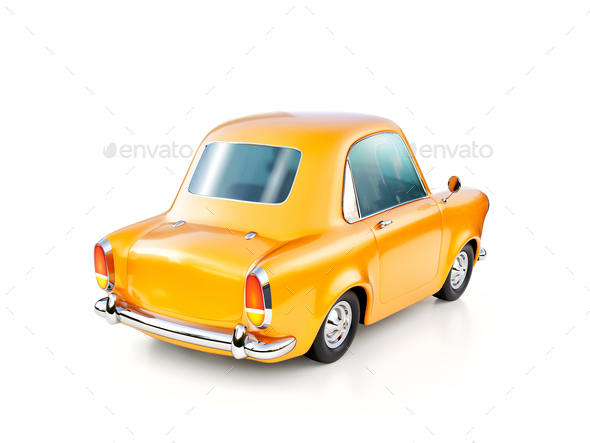 3d illustration of a funny yellow cartoon retro car isolated on white - Stock Photo - Images
