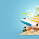 airplane and tropical palm on a paradise island - PhotoDune Item for Sale
