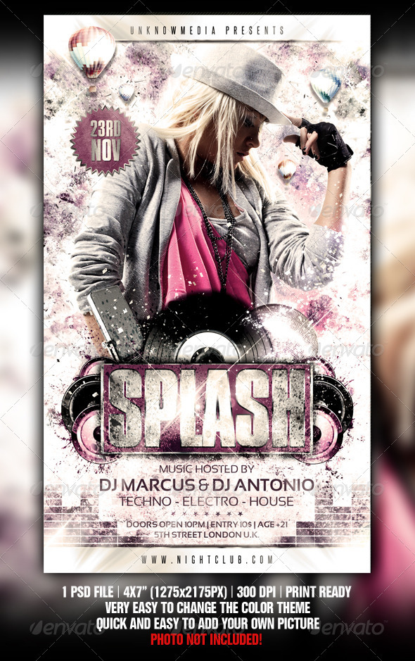 Grungy Splash Party Flyer Template By Fadeink Graphicriver
