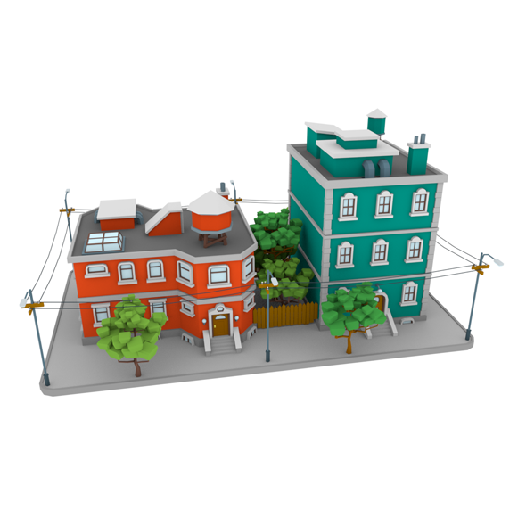 LowPoly City Block01 - 3DOcean Item for Sale