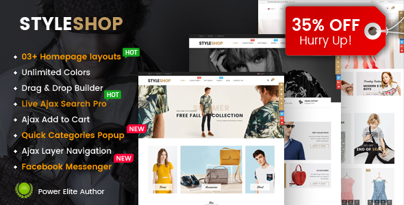 ThemeForest StyleShop Responsive Multipurpose Sections Drag & Drop Builder Shopify Theme 20595574