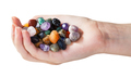 handful with various gems isolated
