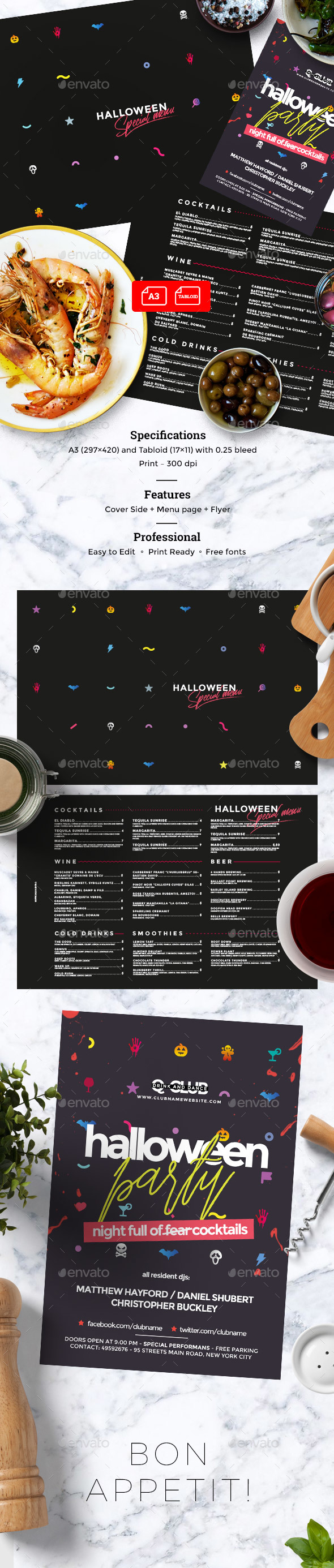 Halloween Menu - Food Menus Print Templates