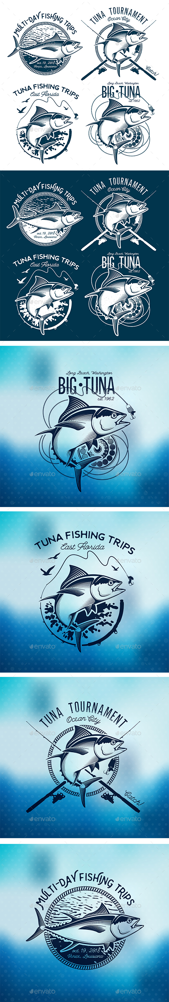 Vintage Tuna Symbols - Sports/Activity Conceptual