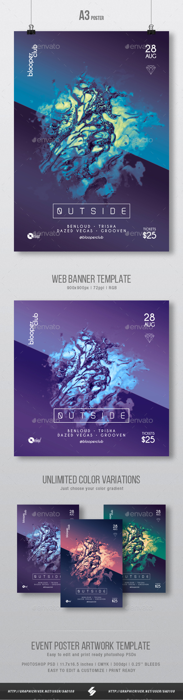 GraphicRiver Outside Progressive Party Flyer Poster Artwork Template A3 20606204