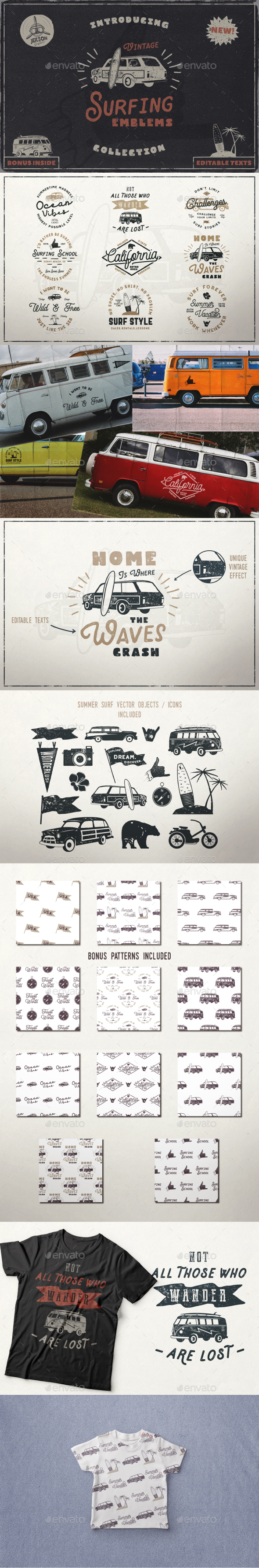 Vintage Surfing Emblems Set - Badges & Stickers Web Elements