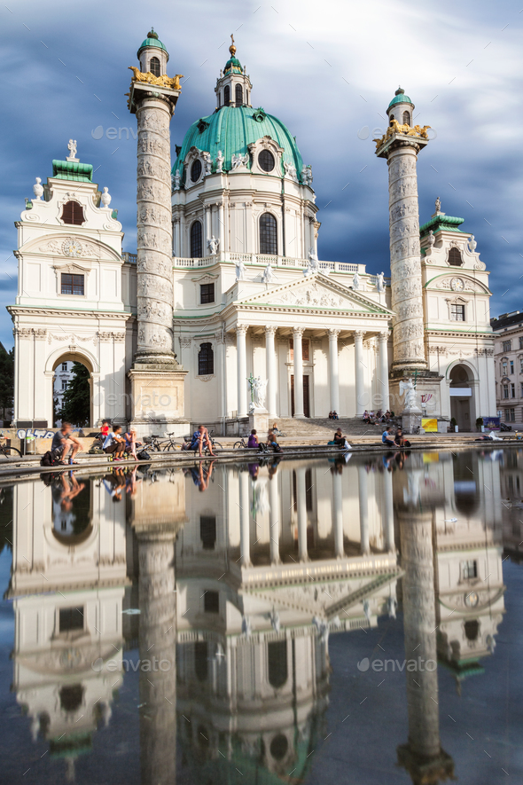 Long exposure of Karlskirche church in Vienna Austria - Stock Photo - Images
