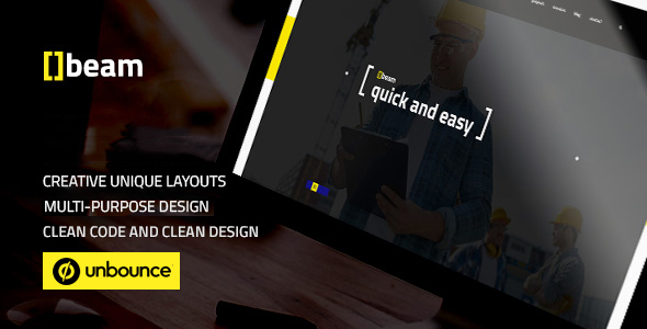 Image of Beam — Modern Multipurpose Unbounce Template for Construction Business