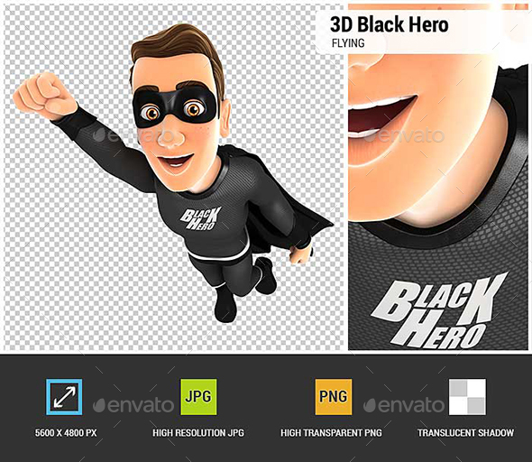 GraphicRiver 3D Black Hero Flying 20606483