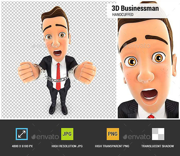 3D Businessman Handcuffed - Characters 3D Renders