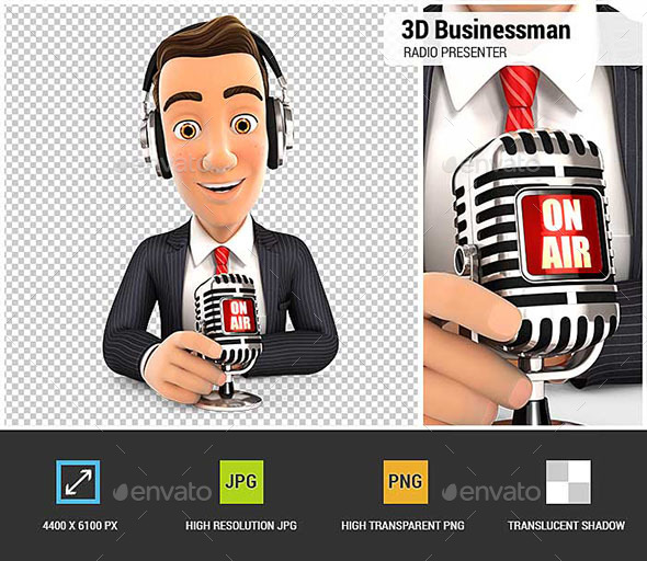 3D Businessman Radio Presenter on Air - Characters 3D Renders