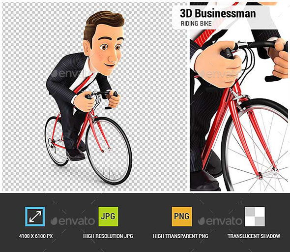 3D Businessman Riding a Bike - Characters 3D Renders