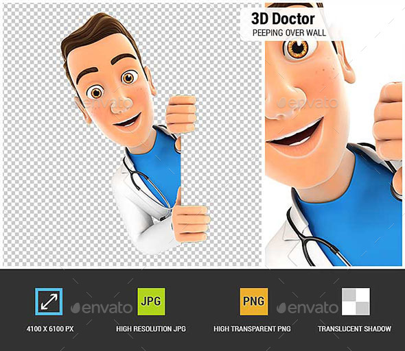 GraphicRiver 3D Doctor Peeping over Blank Wall 20606509