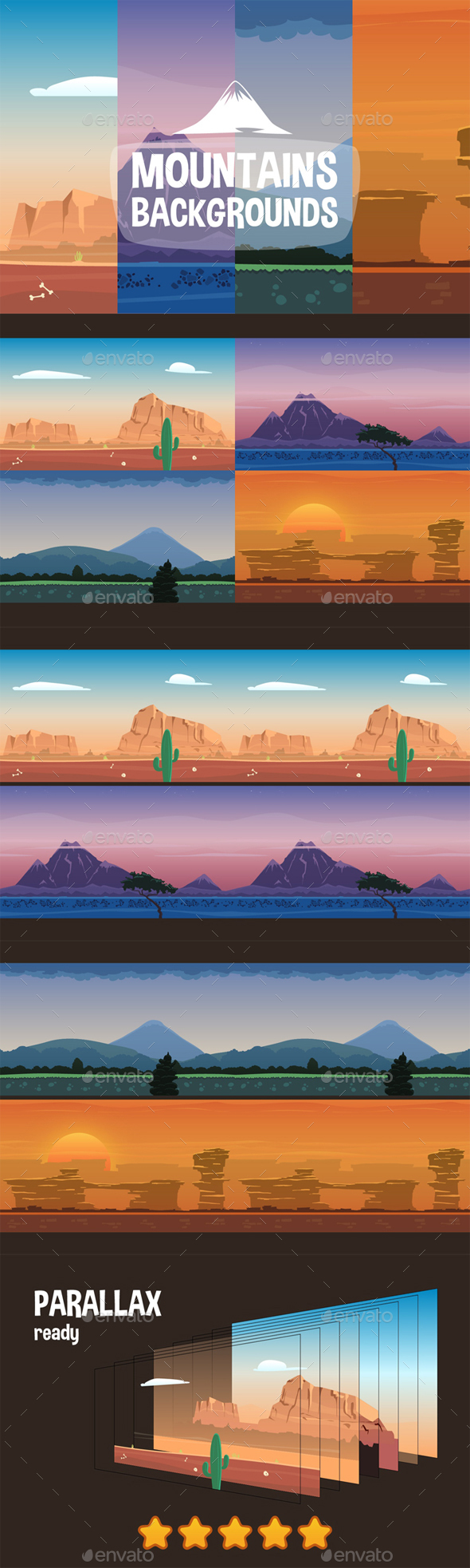 2D Game Mountain Parallax Backgrounds - Backgrounds Game Assets