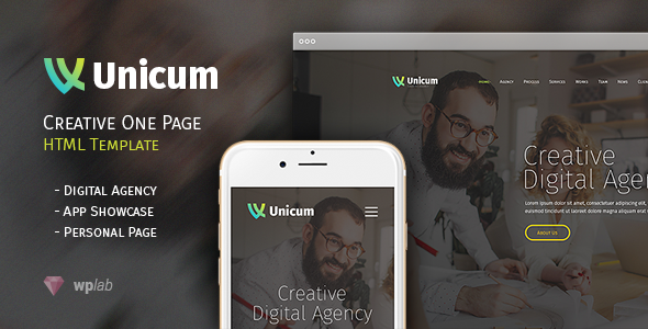 Unicum - One Page Creative HTML Template - Creative Site Templates