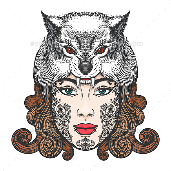 Girl With a Mask of a Wolf - Tattoos Vectors