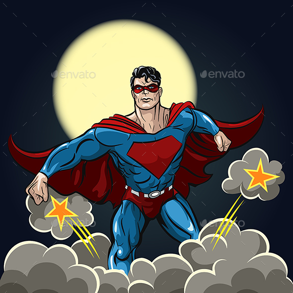 Superhero with Red Cape - Characters Vectors