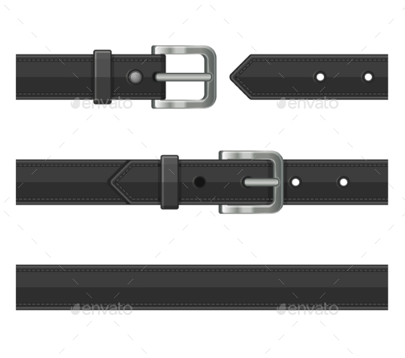 Seamless Black Leather Belts Set. Vector - Miscellaneous Vectors