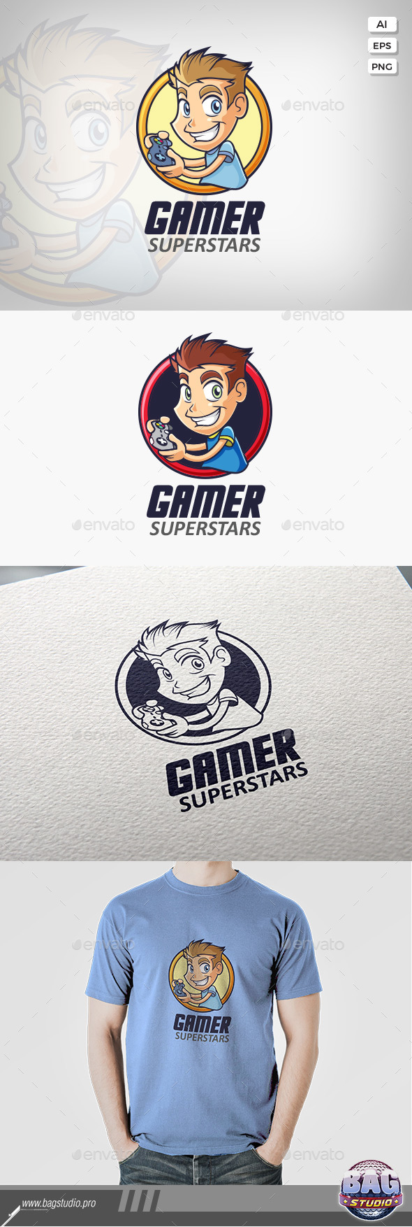 GraphicRiver Gamer Guy Logo Template 20602623