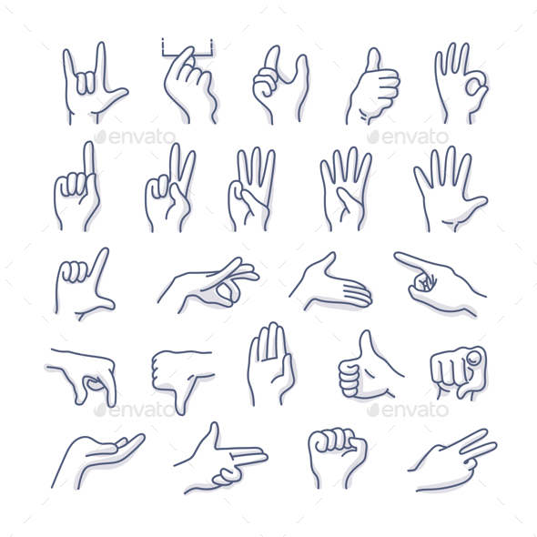 GraphicRiver Hands Gestures Doodle Icons 20607068