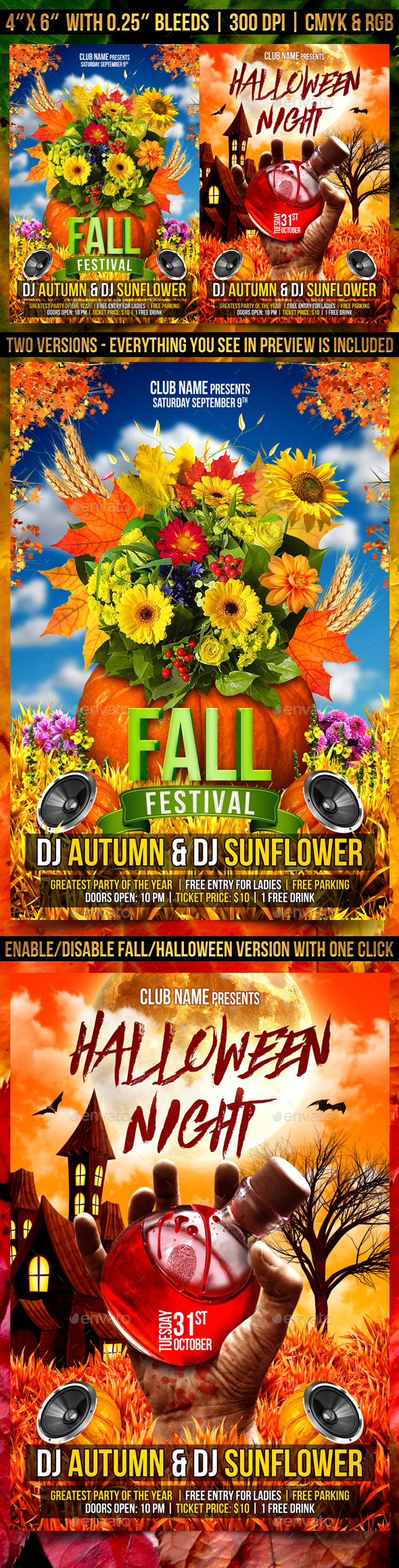 Autumn and Halloween Flyer Template - Clubs & Parties Events