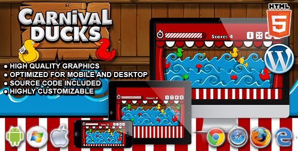 Carnival Ducks - HTML5 Shooting Game - CodeCanyon Item for Sale