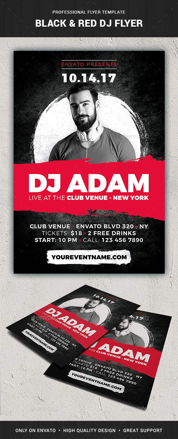Black & Red DJ Flyer Template - Events Flyers