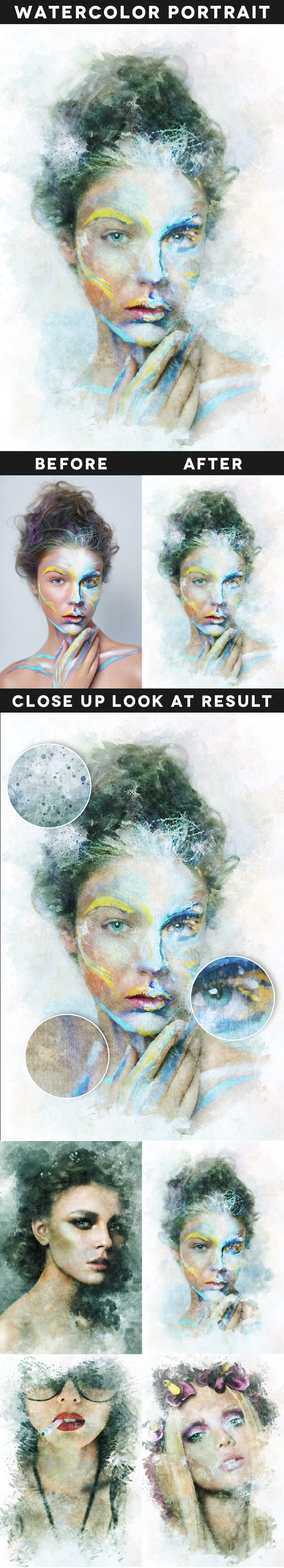 Watercolor Portrait Action - Photo Effects Actions