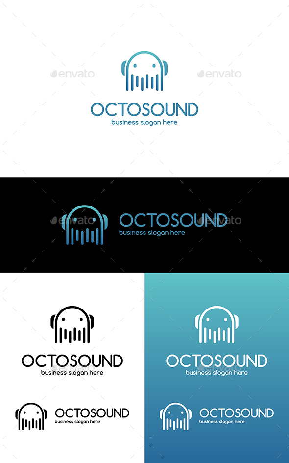 Octopus Sound Clean Vector Business Logo - Animals Logo Templates