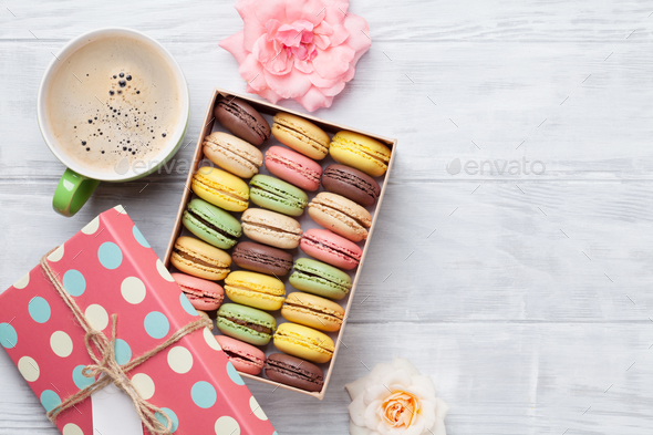 Colorful macaroons in a gift box - Stock Photo - Images