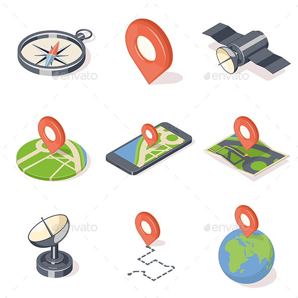 GPS Navigation Illustrations Set - Communications Technology