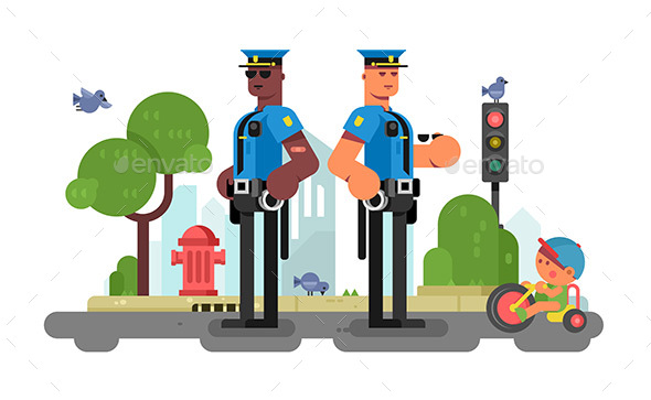 GraphicRiver Police Patrol Officer on City Street 20608008