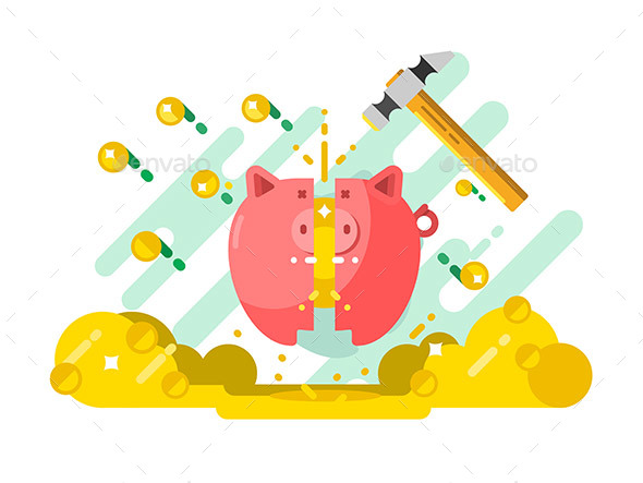 GraphicRiver Break Piggy Bank with Money 20608062