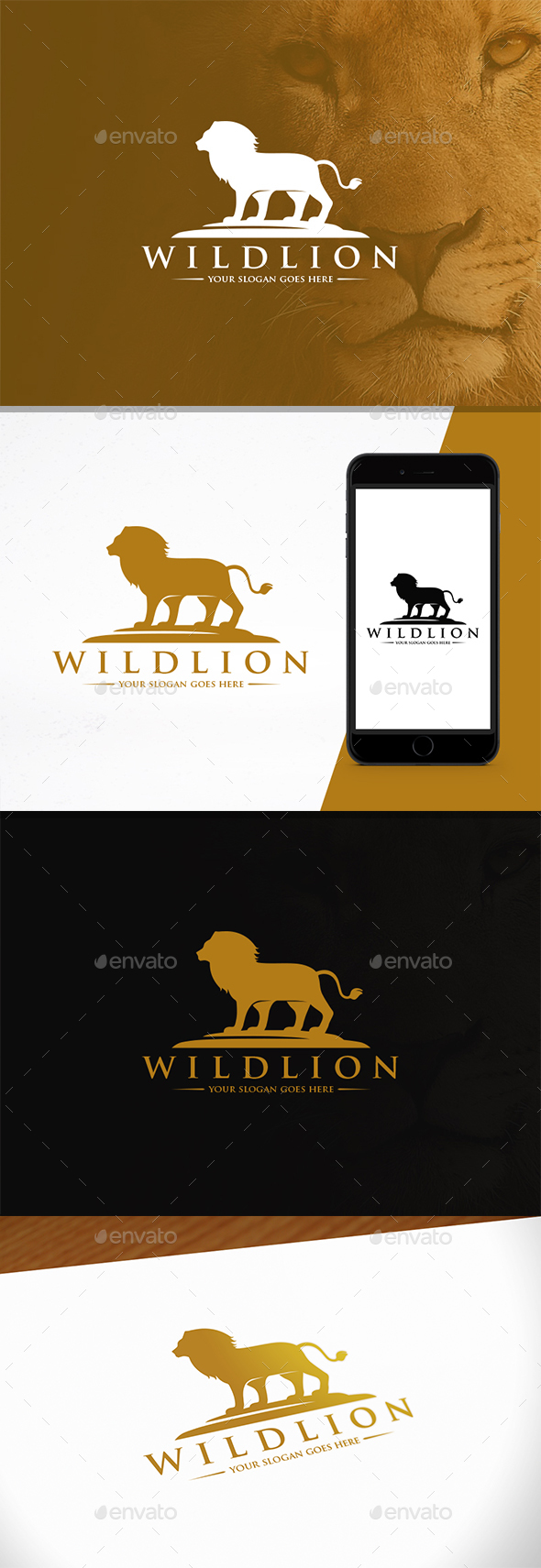 Wild Lion Crest Logotype - Animals Logo Templates