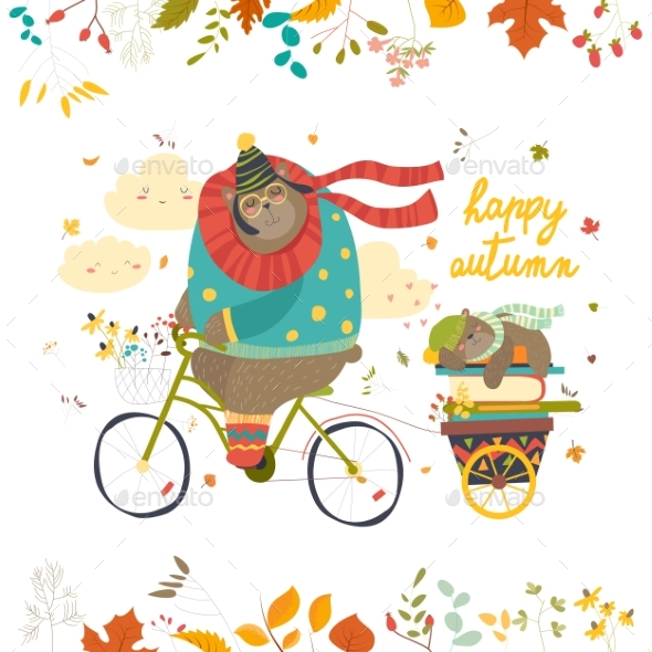 GraphicRiver Bear Riding a Bicycle with Sleeping Cub 20608428
