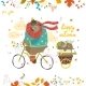 Bear Riding a Bicycle with Sleeping Cub - GraphicRiver Item for Sale