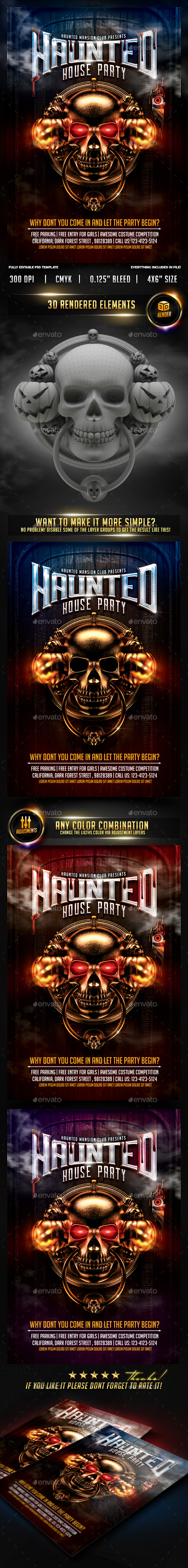Haunted House Halloween Party Flyer - Clubs & Parties Events