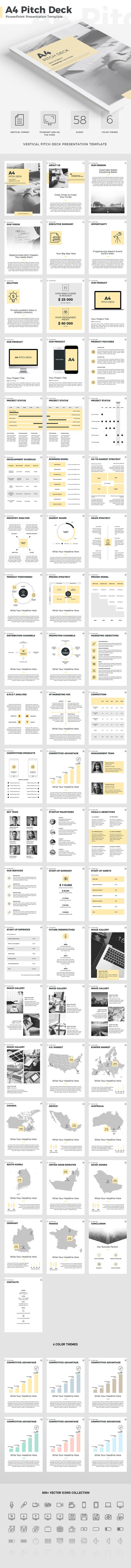 A4 Pitch Deck Vertical PowerPoint Template - Business PowerPoint Templates